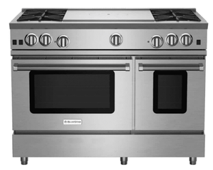 """RNB484FTBV2 BlueStar 48"""" Freestanding Natural Gas Range - 4 Burners with 24"""" French Top - Stainless Steel"""