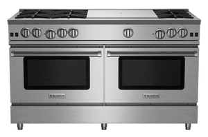 """RNB606FTV2 BlueStar 60"""" RNB Series Range With 24"""" French Top and Convection Oven Cooking - Natural Gas - Stainless Steel"""