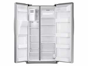 """RS25J500DSR Samsung 36"""" 25 cu. ft. Capacity Side by Side Refrigerator with Digital LED Display and External Filtered Water/Ice Dispenser - Stainless Steel"""