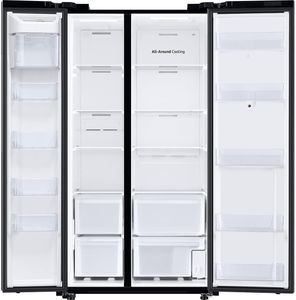 """RS28A5F61SG Samsung 36"""" Smart Side by Side Refrigerator 27.3 Cu. Ft. with Family Hub - Fingerprint Resistant Black Stainless Steel"""