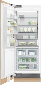 """RS3084FLJK1 Fisher & Paykel 30"""" Integrated Column Freezer with ActiveSmart Foodcare and Stainless Interior  - Left Hinge - Custom Panel"""