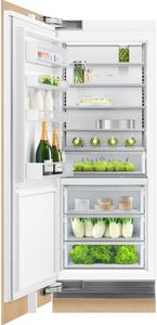 """RS3084SL1 Fisher & Paykel 30"""" Integrated Column Refrigerator with ActiveSmart Foodcare and White Interior  - Left Hinge - Custom Panel"""
