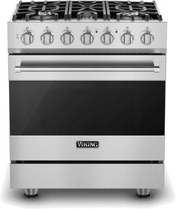 "RVDR33025BSS 30"" Viking 3 Series Freestanding Dual Fuel Range with Five Sealed Burners and SureSpark Ignition System - Natural Gas - Stainless Steel"