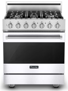 """RVDR33025BWH 30"""" Viking 3 Series Freestanding Dual Fuel Range with Five Sealed Burners and SureSpark Ignition System - Natural Gas - White"""