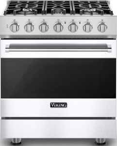 """RVGR33025BWH 30"""" Viking 3 Series Freestanding Gas Range with Five Sealed Burners and SureSpark Ignition System  - Natural Gas - White"""