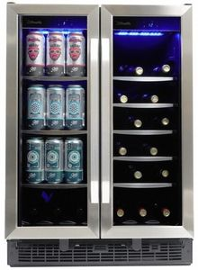 """SBC051D1BSS Danby 24"""" Silhouette Emmental French Door Dual Zone Beverage Center 27 Can, 60 Bottle Capacity - Stainless Steel"""