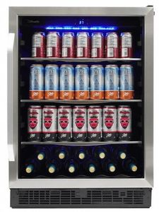 "SBC057D1BSS Danby 24"" Silhouette Riccotta Single Zone Beverage Center with 138 Cans and 11 Bottles of Wine Capacity - Stainless Steel"