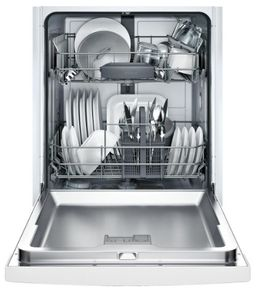 "SGE53X52UC Bosch 300 Series 24"" Recessed Handle Special Application Dishwasher with RackMatic Racks and AquaStop - White"