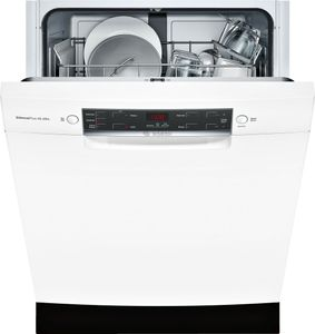 """SGE53X52UC Bosch 300 Series 24"""" Recessed Handle Special Application Dishwasher with RackMatic Racks and AquaStop - White"""