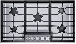 "SGSXP365TS Thermador 36"" Masterpiece Gas Cooktop with  QuickClean Base and Raised Pedestal Burner - Stainless Steel"
