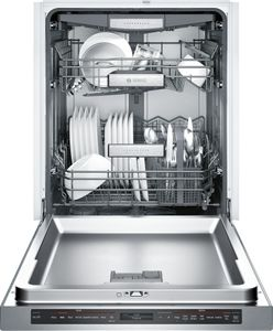 """SHE89PW75N Bosch Benchmark Series 24"""" Top Control Recessed Handle Dishwasher with AquaStop Leak Protection and MyWay Rack - Stainless Steel"""