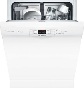 "SHEM3AY52N Bosch 24"" 100 Series Ascenta Front Control Dishwasher with Sanitize Option and Variable Spray Pressure - White"