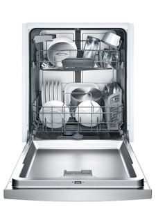 """SHEM3AY55N Bosch 24"""" 100 Series Ascenta Front Control Dishwasher with Sanitize Option and Variable Spray Pressure - Stainless Steel"""