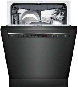 """SHEM63W56N Bosch 300 Series 24"""" Recessed Handle Dishwasher with Front Controls and AquaStop - Black"""