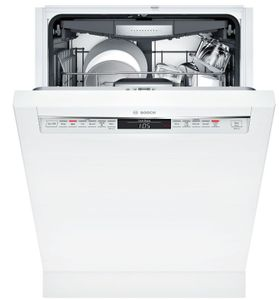 "SHEM78Z52N Bosch 800 Series 24"" Front Control Dishwasher 42dBa with CrystalDry and AquaStop Leak Protection - White with Recessed Handle"