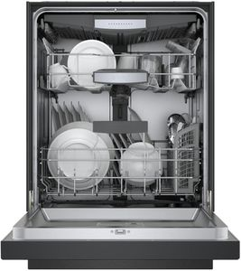 "SHEM78Z56N Bosch 800 Series 24"" Front Control Dishwasher 42dBa with CrystalDry and AquaStop Leak Protection - Black with Recessed Handle"