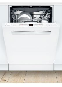 "SHPM65Z52N Bosch  24"" 500 Series Top Control Dishwasher 44dBa with FlexSpace Tines and AquaStop Leak Protection - White with Pocket Handle"