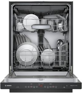 """SHPM65Z56N Bosch  24"""" 500 Series Top Control Dishwasher 44dBa with FlexSpace Tines and AquaStop Leak Protection - Black with Pocket Handle"""