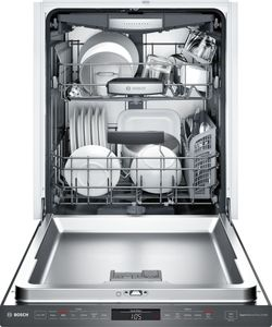 """SHPM78W54N Bosch 800 Series 24"""" Pocket Handle Dishwasher with Top Controls and AquaStop - Black Stainless Steel"""