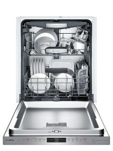 """SHPM78W55N Bosch 800 Series 24"""" Pocket Handle Dishwasher with Top Controls and AquaStop - Stainless Steel"""