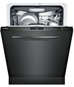 """SHPM78Z56N Bosch 24"""" 800 Series Top Control Dishwasher 42dBa with FlexSpace Tines and AquaStop Leak Protection - Black Stainless Steel with Pocket Handle"""