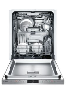 """SHPM98W75N Bosch 800 Series 24"""" Pocket Handle Dishwasher with Top Controls and AquaStop - Stainless Steel"""