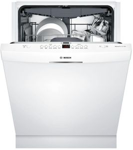 """SHSM63W52N Bosch 300 Series 24"""" Scoop Handle Dishwasher with Top Controls and AquaStop - White"""