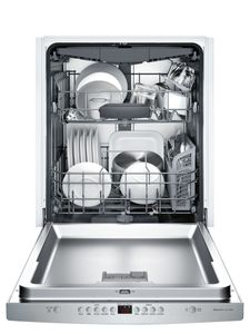 """SHSM63W55N Bosch 300 Series 24"""" Scoop Handle Dishwasher with Top Controls and AquaStop - Stainless Steel"""