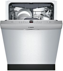 "SHSM63W55N Bosch 300 Series 24"" Scoop Handle Dishwasher with Top Controls and AquaStop - Stainless Steel"