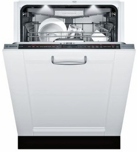 """SHV89PW73N Bosch 24"""" Benchmark Series Top Control Dishwasher with RackMatic on Upper Rack and Speed60 - Custom Panel"""