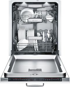 "SHV89PW73N Bosch 24"" Benchmark Series Top Control Dishwasher with RackMatic on Upper Rack and Speed60 - Custom Panel"