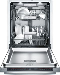 """SHX89PW75N Bosch  24"""" Benchmark Series Top Control Bar Handle Dishwasher with RackMatic Upper Rack and AquaStop Leak Protection - Stainless Steel"""