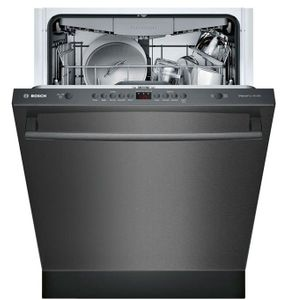 "SHXM4AY54N Bosch 24"" 100 Series Ascenta Top Control Bar Handle Dishwasher with InfoLight and RackMatic Upper Rack - Black Stainless Steel"