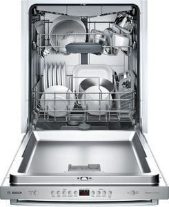"SHXM4AY55N Bosch 24"" 100 Series Ascenta Top Control Bar Handle Dishwasher with InfoLight and RackMatic Upper Rack - Stainless Steel"