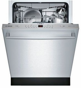 """SHXM4AY55N Bosch 24"""" 100 Series Ascenta Top Control Bar Handle Dishwasher with InfoLight and RackMatic Upper Rack - Stainless Steel"""