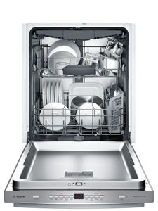 """SHXM63W55N Bosch 300 Series 24"""" Bar Handle Dishwasher with Top Controls and AquaStop - Stainless Steel"""