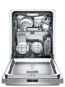 "SHXM78W55N Bosch 800 Series 24"" Bar Handle Dishwasher with Top Controls and AquaStop - Stainless Steel"