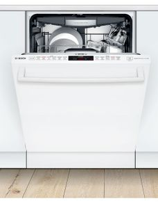 "SHXM78Z52N Bosch 24"" 800 Series Top Control Dishwasher 42dBa with FlexSpace Tines and AquaStop Leak Protection - White with Bar Handle"