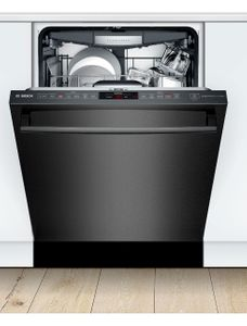"""SHXM78Z54N Bosch 800 Series 24"""" Top Control Dishwasher 42dBa with FlexSpace Tines and AquaStop Leak Protection - Black Stainless Steel with Bar Handle"""
