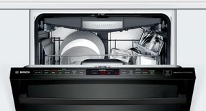 """SHXM78Z56N Bosch 800 Series 24"""" Top Control Dishwasher 42dBa with FlexSpace Tines and AquaStop Leak Protection - Black with Bar Handle"""