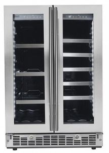 """SPRBC047D1SS Danby 24"""" Silhouette Lorraine Dual Zone French Door Beverage Center with 61 Can and 21 Bottle Capacity - Stainless Steel"""
