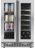 "SPRBC047D1SS Danby 24"" Silhouette Lorraine Dual Zone French Door Beverage Center with 61 Can and 21 Bottle Capacity - Stainless Steel"