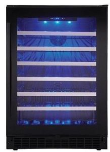 """SSWC056D1BS Danby 24"""" Silhouette Sydney Series Freestanding Single Zone Wine Cellar with Blue LED Track Lighting and Alarm System - Black Onyx"""