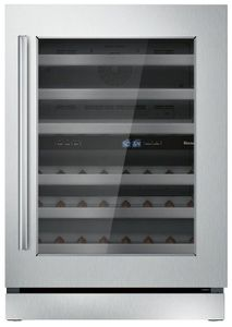 """T24UW910RS Thermador 24"""" Under-Counter Glass Door Dual Zone Wine Cooler with SoftClose Hinges and LED Theater Lighting - Stainless Steel with Masterpiece Handle - Right Hinge"""