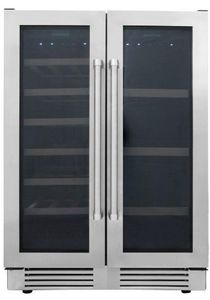 "TBC2401DI Thor Kitchen 24"" Professional Dual Zone French Door Free Standing Wine Cooler and Beverage Center - Stainless Steel"