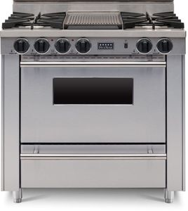 """TTN3127BW FiveStar 36"""" All-Gas Range with 4 Open Burners and Grill/Griddle - Natural Gas - Stainless Steel"""