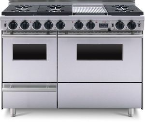 """TTN5397BW FiveStar 48"""" Dual-Fuel Convection Range with 6 Sealed Burners, Grill/Griddle and Double Oven - Natural Gas - Stainless Steel"""