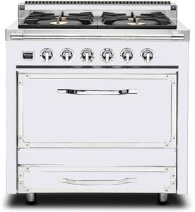 TVDR3604BAW Viking Tuscany 36 Inch Pro-Style Dual Fuel Range with 4 20,000 BTU Burners, 3.4 cu. ft. Convection Oven and Proofing Mode - Natural Gas - Antique White