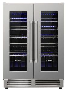 "TWC2402U Thor Kitchen 24"" Professional Dual Zone French Door Built In Wine Cooler - Stainless Steel"