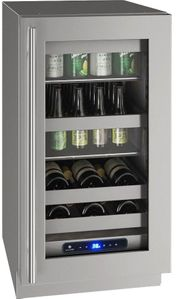 "UHBV518-SG01A U-Line 18"" 5 Class Series Stainless Frame Undercounter Beverage Center with Variable Speed Compressor and Convection Cooling System - Reversible Hinge - Stainless Steel"